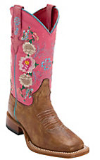 Anderson Bean Kid's Antiqued Honey Brown w/ Pink Lizard & Floral Embroidery Top Square Toe Western Boots