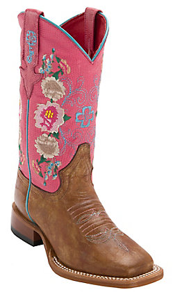 Macie Bean Kid's Antiqued Honey Brown with Pink Lizard & Floral Embroidery Top Square Toe Western Boots