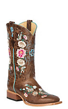 Macie Bean Kid's Antiqued Honey Brown w/ Rose Garden Embroidery Square Toe Western Boots