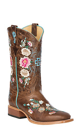 Macie Bean Kid's Antiqued Honey Brown with Rose Garden Embroidery Square Toe Western Boots