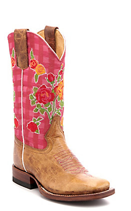 Anderson Bean Youth Macie Bean Tan and Pink Floral Embroidered Square Toe Western Boots