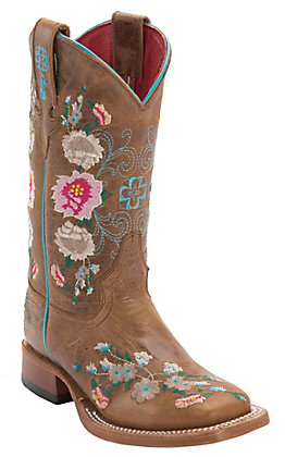 Anderson Bean Youth Macie Bean Antiqued Honey Brown with Rose Garden Embroidery Square Toe Boots
