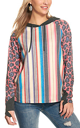 Crazy Train Women's Serape Print and Pink Leopard Print Long Sleeve Hooded Top