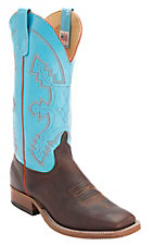 XANAnderson Bean Men's Briar Brown w/ Baby Blue Top Double Welt Square Toe Western Boots