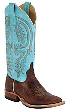 XCEAnderson BeanMens Chocolate Brown Volcano w/Turquoise Double Welt Square Toe Boot