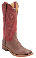 XTJAnderson Bean Men's Brown Caiman Belly w/Red Top Double Welt Square Toe Western Boot