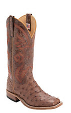 Anderson Bean Men's Rum Brown Full Quill Ostrich Double Welt Square Toe Western Boots