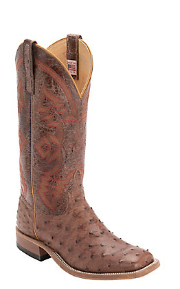 Anderson Bean Men's Rum Brown Full Quill Ostrich MadDog Square Toe Exotic Western Boots
