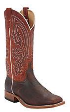 Anderson Bean Men's Brown Bison w/ Rust Top Double Welt Square Toe Western Boots