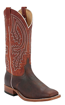 Anderson Bean Men's Brown Bison and Rust Double Welt Square Toe Western Boot