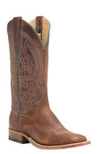 Anderson Bean Men's Tobacco Yeti w/ Brass Explosion Top Double Welt Square Toe Western Boots