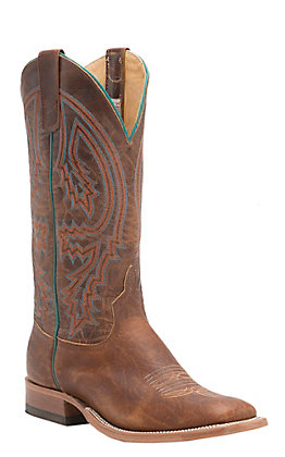 Anderson Bean Men's Tobacco Yeti and Brass Explosion Square Toe Western Boots