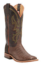 Anderson Bean Men's Tobacco Caiman Belly w/ Brown Top Double Welt Square Toe Western Boot