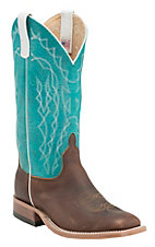 Anderson Bean Men's Briar Oil Tan w/ Turquoise Sensation Top Double Welt Square Toe Western Boots
