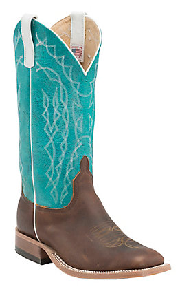 Anderson Bean Men's Briar Oil Tan with Turquoise Sensation Top Double Welt Square Toe Western Boots