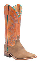 Anderson Bean Men's Distressed American Tan Bison w/ Tangerine Top Double Welt Square Toe Western Boots