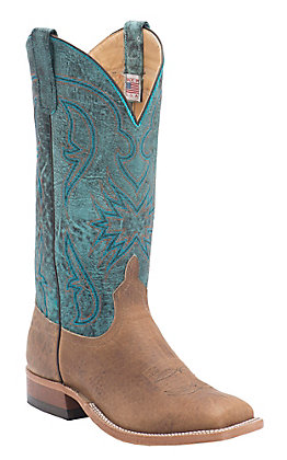 Anderson Bean Men's Distressed Tan Bison with Aqua Monet Top Double Welt Square Toe Western Boots