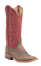 Anderson Bean Men's Dune Rough Rider w/ Rockin Red Top Double Welt Square Toe Western Boots