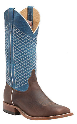 Anderson Bean Men's Mike Tyson Bison and Blue Lava Square Toe Western Boots
