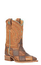Anderson Bean Youth Brown & Tan Patchwork Square Toe Western Boots