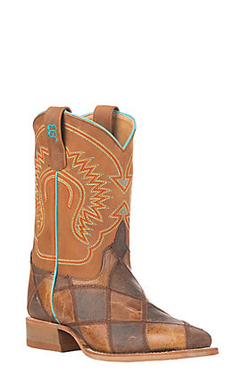 Anderson Bean Youth Macie Bean Brown & Tan Patchwork Square Toe Western Boots