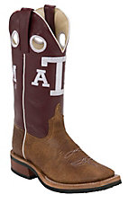 XKH Anderson Bean Youth Brown w/ Maroon Top A&M Double Welt Square Toe Western Boots