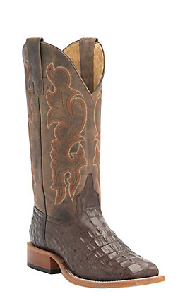 Anderson Bean Youth Chocolate Croc Print Square Toe Western Boots