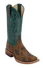 Anderson Bean Youth Brown Ostrich Print Patchwork w/ Turquoise Top Square Toe Western Boots