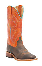 Anderson Bean Youth Distressed Bison with Tangerine Marfalous Square Toe Western Boots