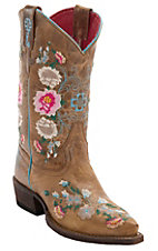 Macie Bean Youth Antiqued Honey Brown w/ Rose Garden Embroidery Snip Toe Boots