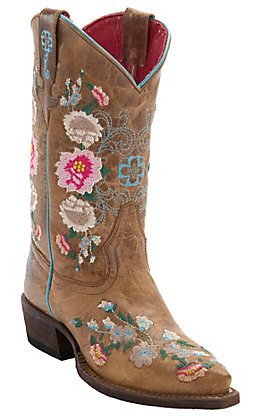 Macie Bean Youth Antiqued Honey Brown with Rose Garden Embroidery Snip Toe Boots