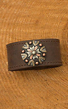Augus Leather Cuff with Silver and Copper Concho
