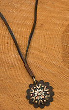 Augus Leather Concho with Flower & Cross Necklace