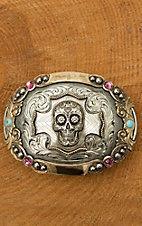 Augus Skull with Pink Stones Buckle