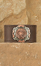 Augus Leather Cuff with Chief Concho