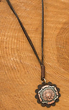 Augus Leather Concho Necklace