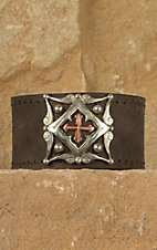 Augus Leather Cuff with Cross Concho