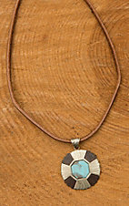 Augus Concho with Turquoise Stone Leather Necklace