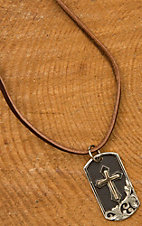 Augus Cross Dog Tag Leather Necklace
