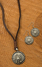 Augus Chief Concho Earrings & Leather Necklace