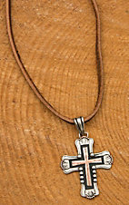 Augus Cross Pendant Leather Necklace