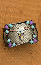 Augus Colorful Longhorn Cuff with Leather