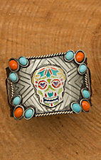 Augus Sugar Skull Cuff with Leather