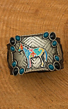 Augus Colorful Horse Cuff with Leather