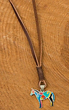 Augus Horse Pendant Leather Necklace
