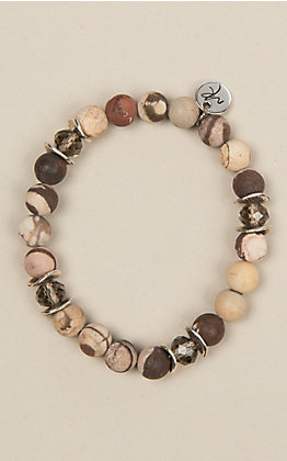 Laminin Accommodating Matte Earth Tone Jasper Bead Bracelet