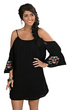 Women's Black with Floral Embroidered Bell Sleeves Dress
