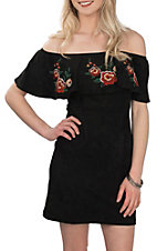 A. Calin by Flying Tomato Women's Black Faux Suede Off the Shoulder Dress