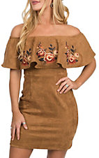 A. Calin by Flying Tomato Women's Camel Faux Suede Off the Shoulder Dress