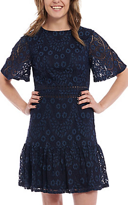 A. Calin by Flying Tomato Women's Navy Blue Lace Dress